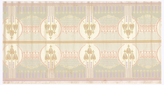 Mackintosh-inspired flowers printed in pink, lilac and pale green on a mica ground.
