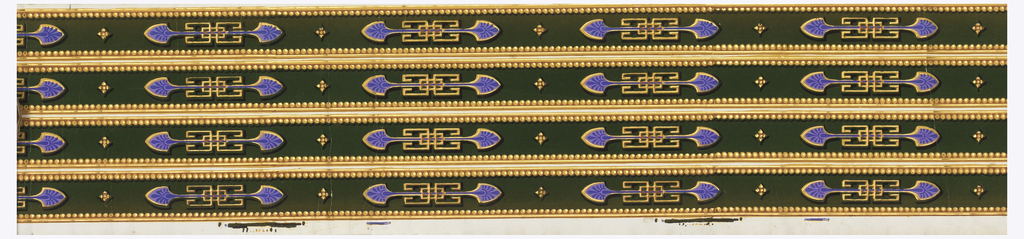 Olive green flock, violet neo-grec buckle-like motif, with gold beaded edge.