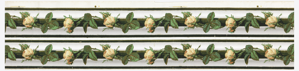 Yellow rose bunch on green ribbon or rod, with gray stripes. Printed two across.