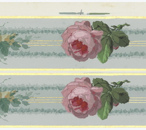 Large pink rose alternates with small bouquet. Pale blue gray ribbon in background. Gold edge. Printed two across.