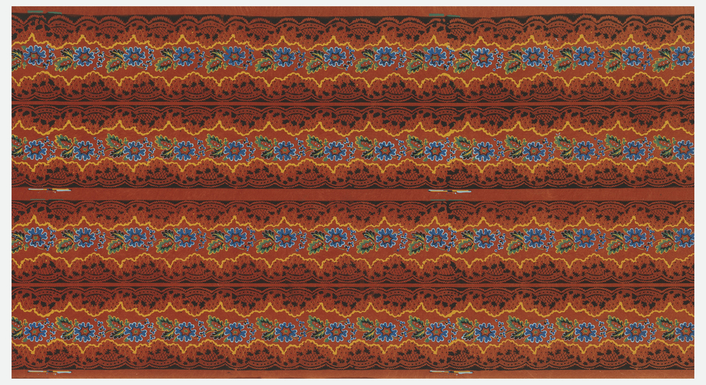 Black lace-like edging with blue, red and brown flowers. Printed on a red ground.