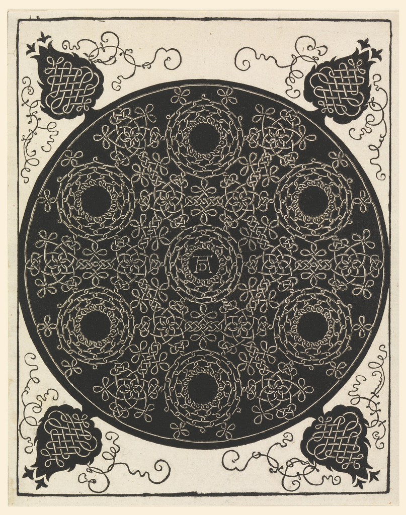 On a black circular ground, a pattern of continuous knots, forming six roundels with open centers around a seventh, in which are the artist's initials (in monogram). From the circle, at the four corners of the plate are stylized tree forms, in black, on which are further knots and tendrils.
