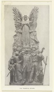 Detail of the sculpture the Triumphant Return on the Dewey arch. In the sculpture, men in uniform are gathered at the bottom saluting, while an angel with outstretched wings holding a sword and olive branch hovers above them