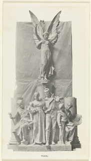 Detail of the sculpture Peace on the Dewey arch. In the sculpture, a man and a woman holding a child are at center on the bottom. An old man sitting is on the left, and two children are standing on the right. A winged angel hovers above them holding lilies.