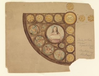 Design shows quarter-circle with half-length figure in roundel in center holding tablet. Border roundels of quatrefoil design and circles. On axis of circle, IHS within sunburst.