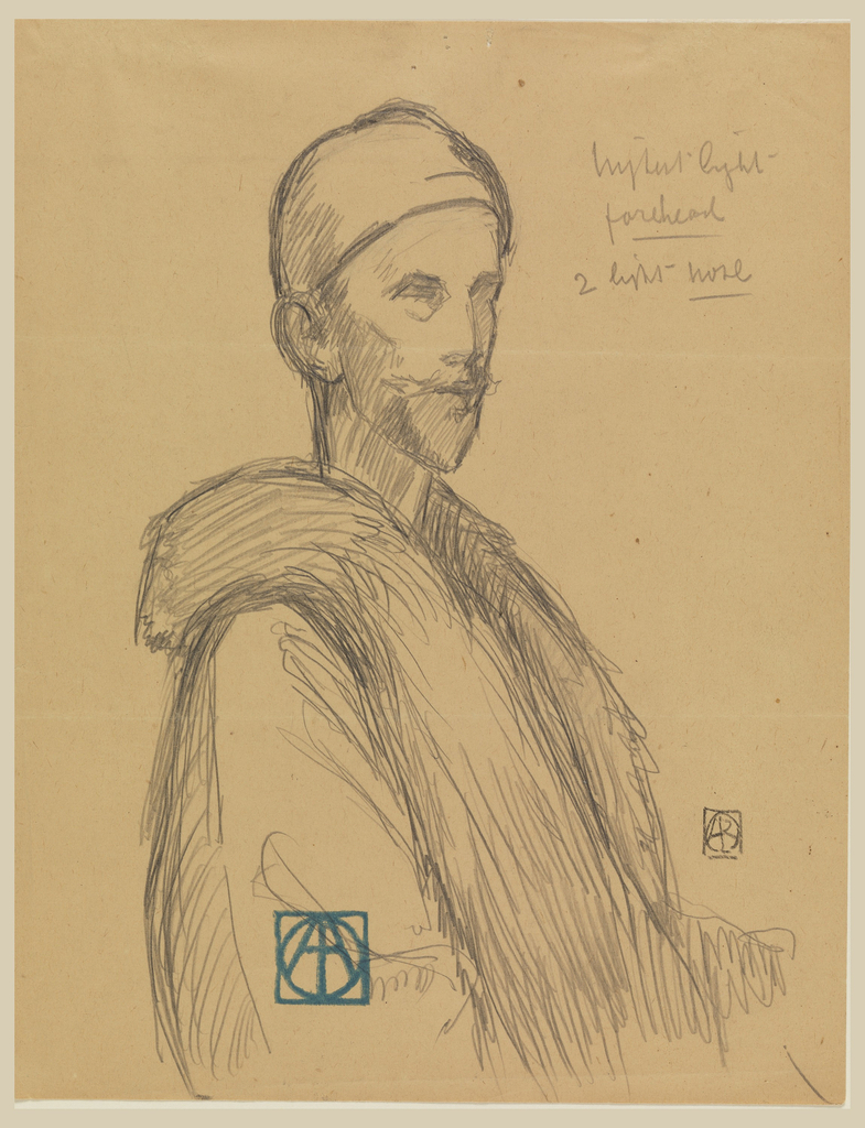 Half-length figure, facing right, head turned half left, wearing coat with fur collar and skull-cap.