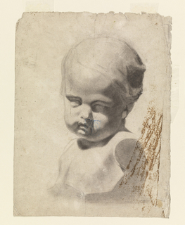 Head of child turned three-quarters left, gaze directed to the right, downward. Bust cut off at arms.