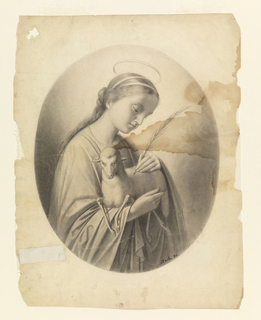 Within oval format, saint is seen facing half-right, holding a lamb in her arms and the palm of her martyrdom in her left hand. Halo over her head, and gaze is directed downward.