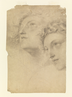 Two head seen turned three-quarters left, one looking up and the other gazing straight ahead.  Verso: studies of heads woman and two men, all shown in left profile.