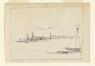 Drawing, Landscape with Sailboat