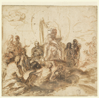 Design for a ceiling painting. In the center, one figure sits raised above a group of other figures, who all appear to be focused on the raised figure. At left, two female forms. Top left, putti suggested.