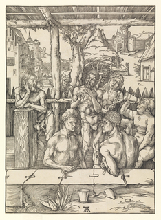 An enclosure with 6 men. 2 are playing musical instruments, while another is seated right drinking. Street and buildings can be seen in background. Monogram of Durer lower center.