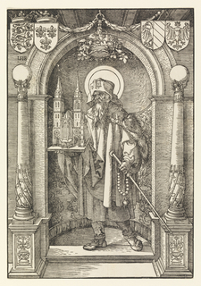 The figure of St. Sebaldus stands in a niche turned toward left. He holds the model of a church in his right hand and a baton in his left. Columns surmounted by globes flank the niche. Four coats of arms above.