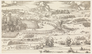 Pictured to the left of Siege of a City (Part 2), Part 1 depicts the city on the left with a prominent citadel and encircled by a wall. The landscape is dotted with vegetation and other buildings on fire. The attacking army surrounds the wall.