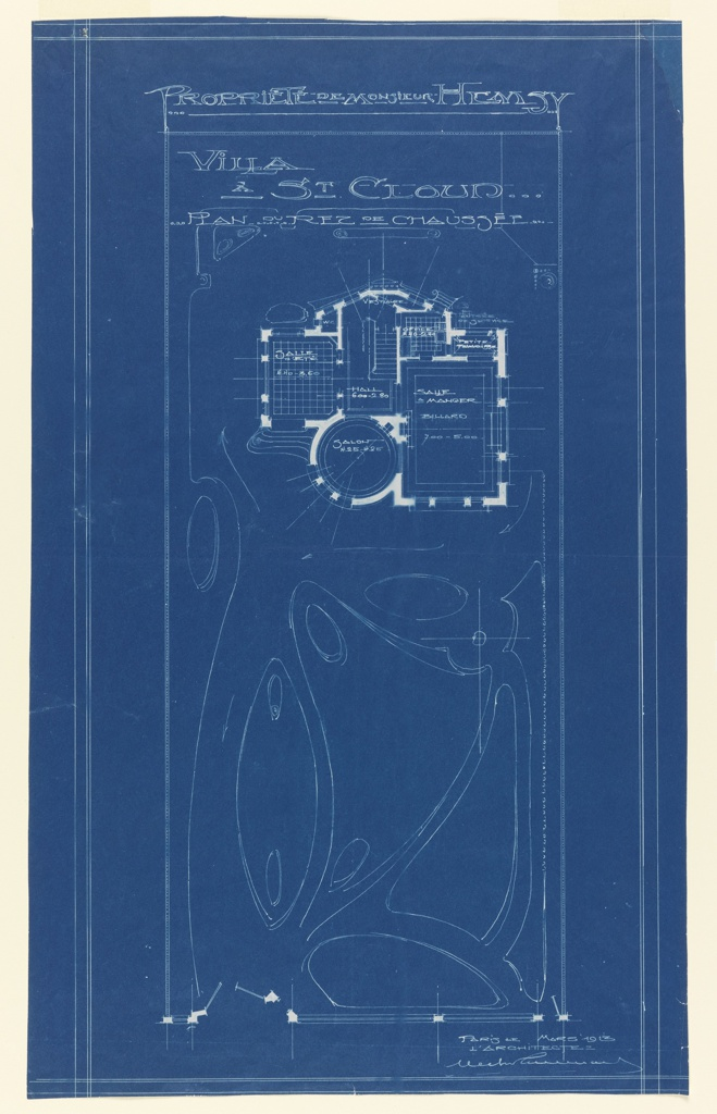 Blueprint, Plan of Ground Floor of Villa of M. Hemsy, St. Cloud
