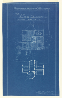 A blueprint depicting the principal facade of the Villa of Monsieur Hemsy. On the top half of the page is a drawing of the facade, and below is a floor plan. Scale is noted throughout the drawing.