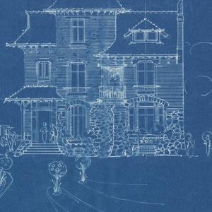 Blueprint villa of m hemsy st cloud facade principale 1913 a blueprint depicting the principal facade of the villa of monsieur hemsy malvernweather Gallery
