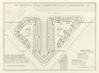 Architectural plan for the lodging of American visitors to the Paris Exposition of Decorative Arts. Guimard has noted scale throughout the drawing.