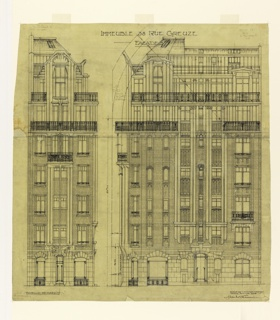 Architectural plan showing the front and side facade of an apartment building at rue Greuze. Scale is noted throughout the drawing.