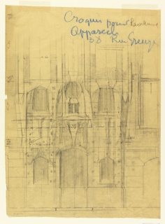 Design for the entrance of the building at 38 rue Greuze. The design shows the door flanked by two windows.