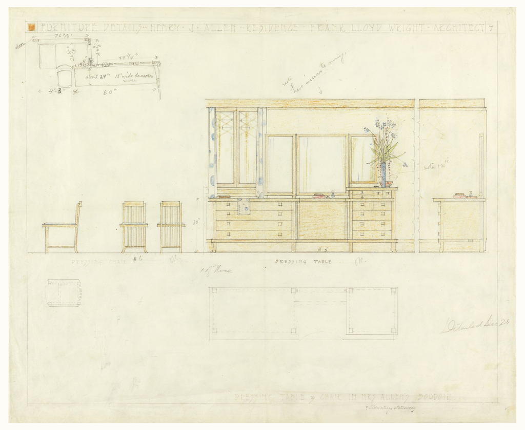 Page divided into upper and lower parts. In upper part, elevation views of high-backed, slatted dressing chairs with blue cushions seen from left-side, front and back. Side and front elevation view of large vanity (dressing table) with tri-panelled mirror; note vase of flowers and perfume bottles. Below, plan of dressing table. Upper left, summary plan of a section of table and chair.