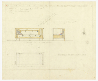 At center of page, two colored drawings of day couch, one on the right is from the front, one on the left is of the right side. Lower right, colored drawing, there is a graphite drawing of the day couch from above.