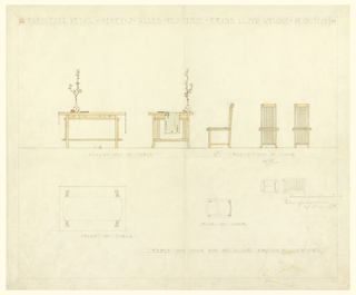 Sheet divided into upper and lower parts. Upper part from left to right shows elevation views of table (front and side); elevation views of chair (side, facing left; front; back). Cloth runner, vase of flowers and book sit atop table. Lower part, in graphite only, shows plan of table, plan of chair and bench at right.
