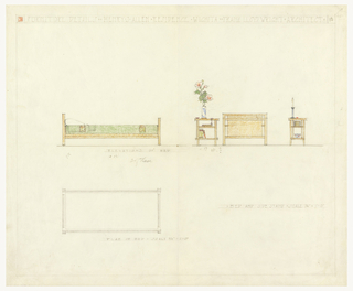 Sheet divided into upper and lower parts. Upper part shows elevation views of bed with green bedspread and pillow, with side stand. Books, vase with flowers and candlestick rest on side stand. Lower part shows plan of bed.