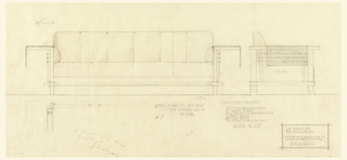 Front and side elevation of a davenport. Front elevation on left, side elevation on right, inscribed underneath.