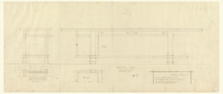 Elevation of a long, thin table from the front and the side. Side, with cabinet doors visible, at the left, front at the right.