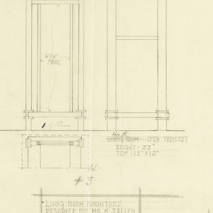Two table designs on sheet that is horizontal rectangle. On left, secondary table with music cabinet beneath table top. On right: two views of taller, thinner table.