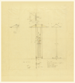Design for a floor lamp showing in the center: a frontal view of the lamp, with a bird's eye view of the shade above it. At the left: design for how the shade and bulb will work. At right: view of lamp from the side.
