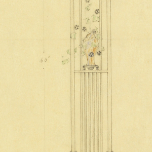 drawing floor lamp henry j allen residence wichita kansas 1917 design for a floor lamp showing in the center a frontal view of the lamp