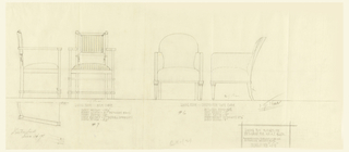 Page with two armchairs. Left, wood frame chair with striped fabric upholstery on seat and back in striped fabric. Right, chair covered in upholstery with wood legs.