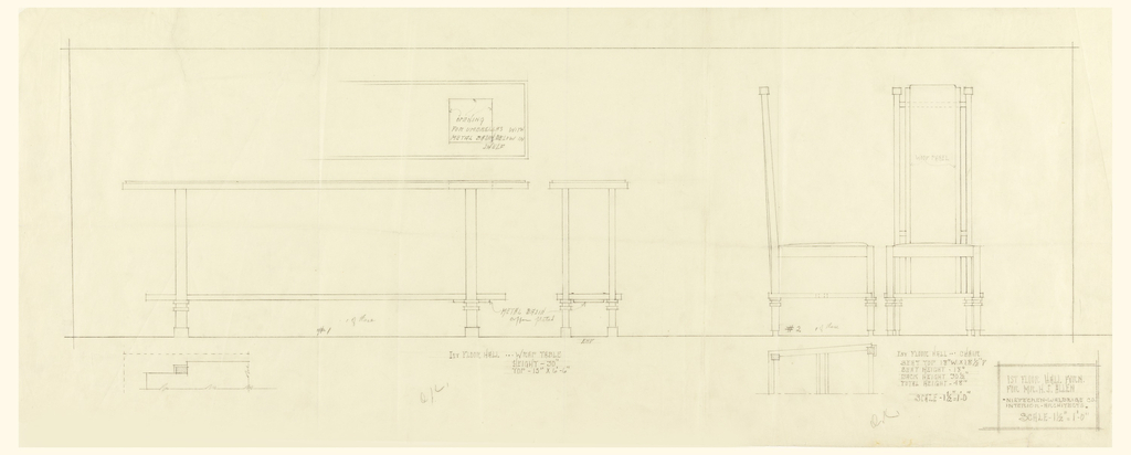 Rectangle at center of page. Left: design for long wrap table with front, and view, and view front above. Right: front and side view of chair. Below rectangle, left: Detail of tabletop edge with inscription to the right; right: detail of base structure of chair.