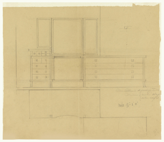 Design for dressing table, set of drawers and mirror.