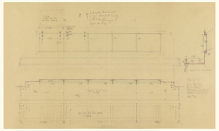 Drawing of two different views of hall seating.