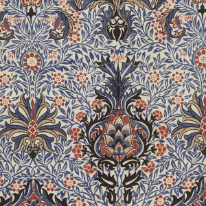 Horizontal alternating repeat of conventionalized buds and blossoms against background of interlacing foliages and tiny blossoms. Printed in blue, tan, black, and red on white, plain cloth.
