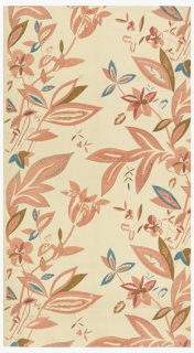 Floral pattern in muted colors on white (un-dyed) background. Five colors or blocks: three pinks, blue, green.