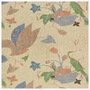 Basket of flowers with bird in muted colors on natural un-dyed background. Six colors or blocks: two blues, two browns, orange, and green.