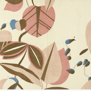 Parallel vine with large leaves and flowers in pale colors on un-dyed background. Four colors or blocks: two pinks, blue, olive.