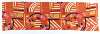 Non-directional geometric pattern on dyed orange background. Length less than height. 4 colors: orange, pink, yellow, black on white silk.