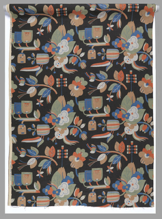 Length of printed linen with a bold, large-scale design of highly stylized flowers in blue, green, light gray, orange, and orange-tan on a printed black ground.