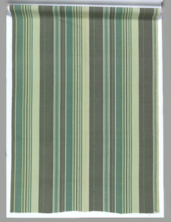 Stripes of varying widths, some with a geometric pattern in shades of green. Non-directional. Four colors of screens: pale green, olive green, blue-green, green.