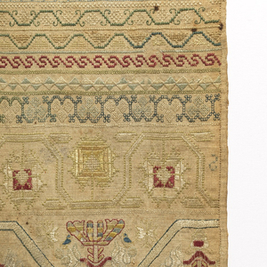 """Vertical rectangle with bands of pattern, alphabet, numeral and singnature """"Elizabeth Silk her work ended in the thirteenth year of her age October the 25 1741."""""""