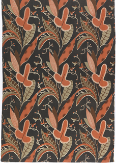 Pair of curtains in printed cotton/rayon blend, with a design of vertical columns of exotic plant forms in melon, sage green, brown and white on a black ground.