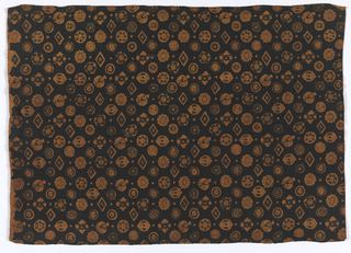 """Small, closely set motifs of varying shapes and sizes ornamented with geometrical, floral and foliate designs. The ground color, a yellowish brown, is used for these motifs and the apparent ground color, a dark brown is actually a """"choke."""""""