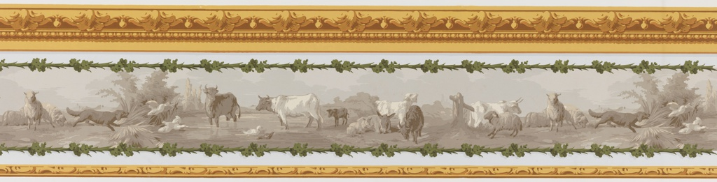 "a) Horizontal rectangle. In grisaille, a series of animals is arranged horizontally: cows, donkeys, goats, lambs, dog and geese. Yellow ocher scrolling architectural bands along top and bottom; b) Small piece having gold where yellow is used in ""a""."