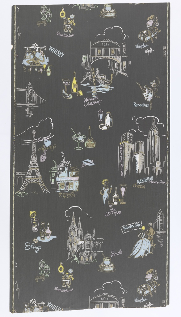 """On slate-gray ground scattered buildings symbolizing cities: The Eiffel Tower, the Cologne Cathedral, a Venice canal, Manhattan skyscrapers. Interspersed with appurtenances of cocktails and inscriptions """"Sling"""", """"Whisky"""", """"Grog"""". etc. Straight across repeat, drop match. On left margin: """"Marburg- Tapete"""", on right: """"152""""."""