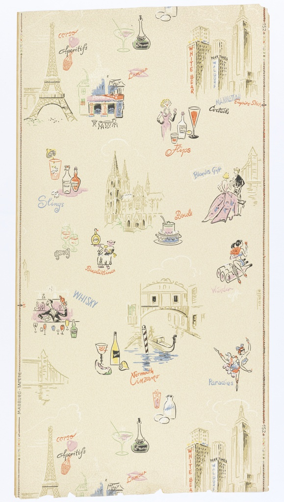 """On eggshell-colored ground scattered buildings symbolizing cities: the Eiffel Tower, the Cologne Cathedral, a Venice Canal, Manhattan skyscrapers. Interspersed with appurtenances of cocktails and inscriptions """"Sling"""", """"Whiskey"""", """"Grog"""", etc. Straight repeat, drop match. On left margin: """"Marburg-Tapete; on right """"152""""."""